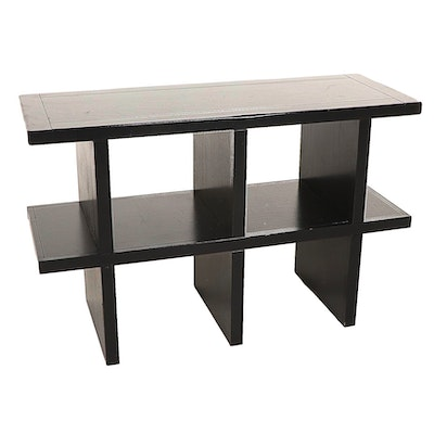 Contemporary Ebonized Wood Open Tiered Console Table