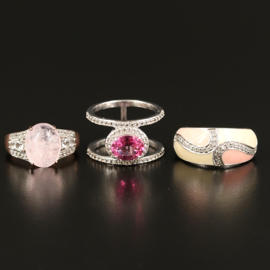 Sterling Rings Including Rose Quartz, Diamond and Gemstones