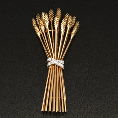 Vintage Tiffany & Co. 18K Diamond Wheat Sheaf Brooch with Platinum Accent