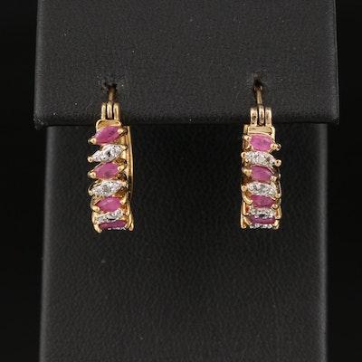 Sterling Diamond and Ruby Hoop Earrings