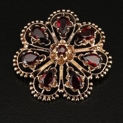 14K Garnet Floral Converter Brooch