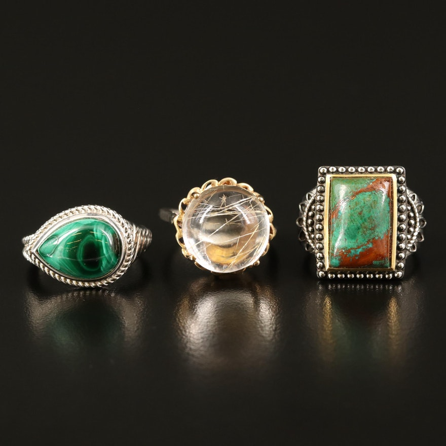 Sterling Rings with Eilat Stone, Rutilated Quartz and Gemstone