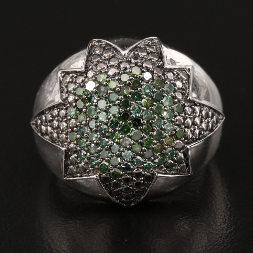 Sterling Silver Pavé Diamond Starburst Dome Ring