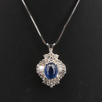 14K Sapphire and 1.13 CTW Diamond Pendant Necklace