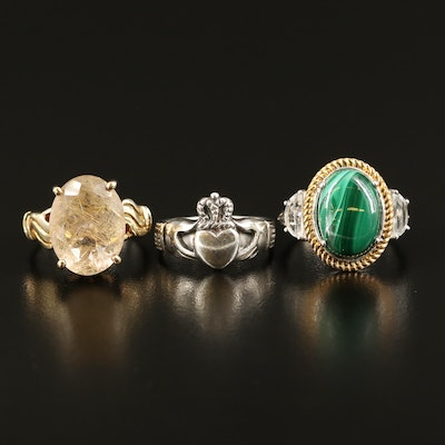 Sterling Rutilated Quartz, and Gemstone  Rings