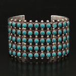 Southwestern Sterling Faux Turquoise Petit Point Stampwork Cuff