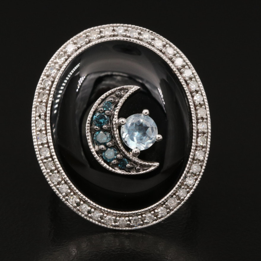 Sterling Silver Black Onyx, Topaz  and Diamond Crescent Moon Ring