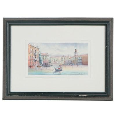 Claudio Baston Watercolor Painting of Venice