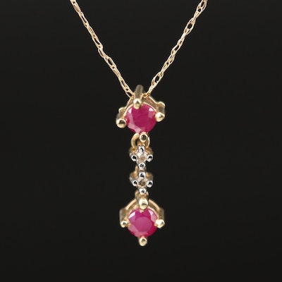 10K Ruby and Diamond Necklace