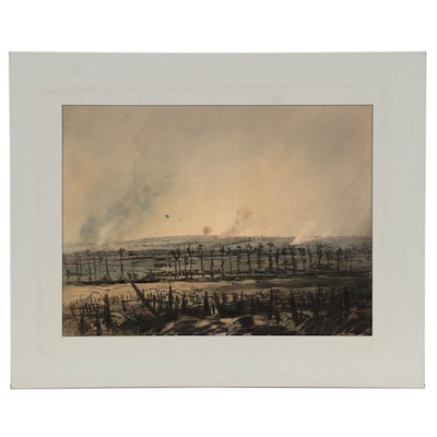 Edward Handley-Read Landscape Mixed Media Drawing, Early 20th Century