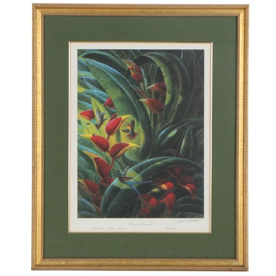 """John A. Ruthven Offset Lithograph """"Brazilian Hummingbirds"""""""