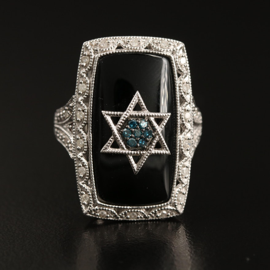 Sterling Diamond and Black Onyx Star of David Ring