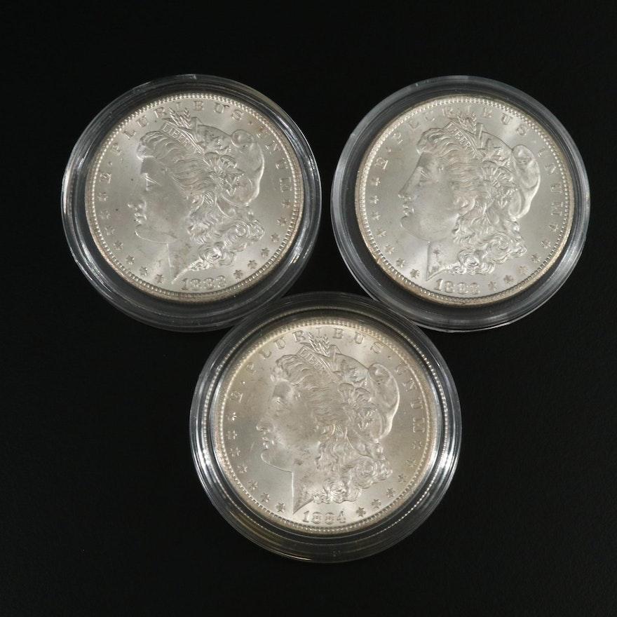 Three Carson City Morgan Silver Dollars