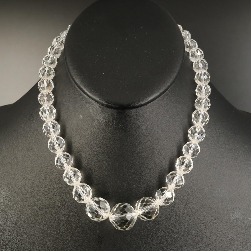 Sterling Silver Faceted Glass Bead Necklace