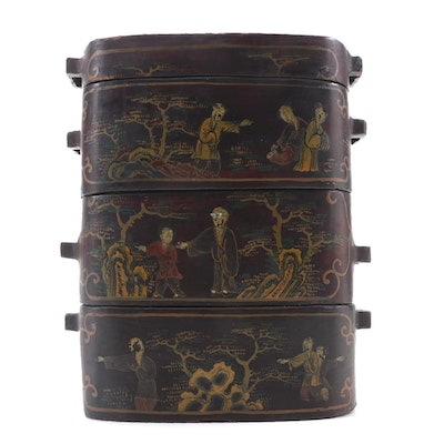 Chinese Lacquered Papier-mâché Stacking Storage Box