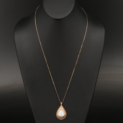 14K Opal Pendant Necklace with Filigree Detail
