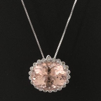 14K Morganite and Diamond Enhancer Pendant on Sterling Necklace
