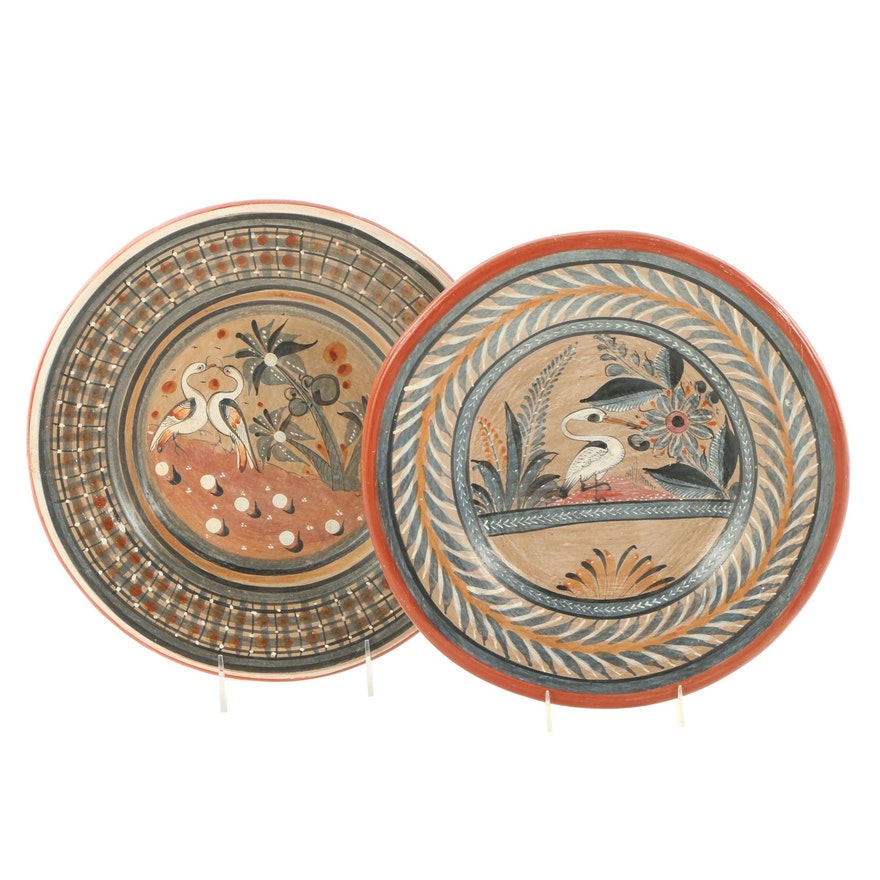 Mexican Hand-Painted Ceramic Wall Hanging Plates
