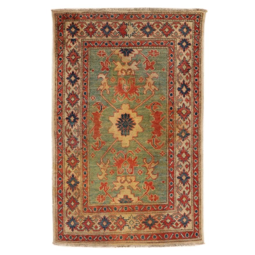 2'9 x 4'5 Hand-Knotted Afghan Kazak Rug, 2000s