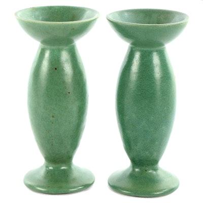 Art Pottery Sage Green Glazed Ceramic Candlesticks