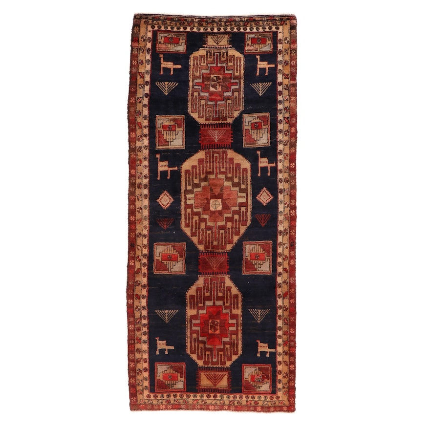 4'1 x 9'9 Hand-Knotted Northwest Persian Pictorial Long Rug, 1950s