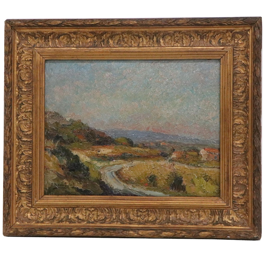 E. Lombard Impressionist Style Landscape Oil Painting