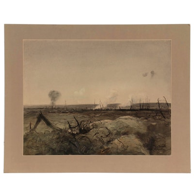"Edward Handley-Read Mixed Media Drawing ""La Baralle,"" Early 20th Century"