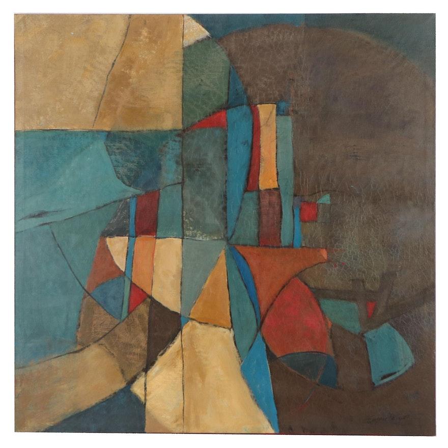 Eugene DeSmith Geometric Abstract Acrylic Painting, 2020