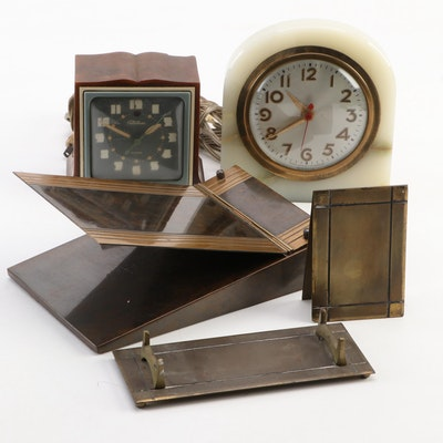 Telechron and Sessions Electric Clocks with Bronze Desk Accessories