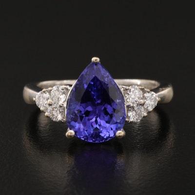 18K 3.32 CT Tanzanite and Diamond Ring