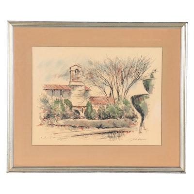 "Serigraph after John Hayman ""San Juan Capistrano Mission, California"""