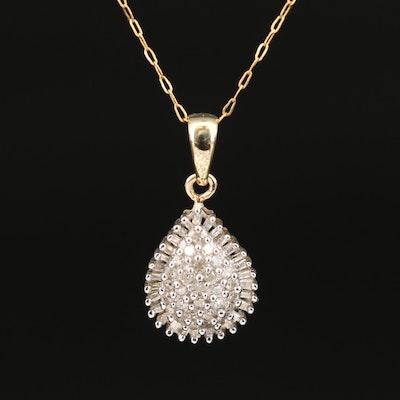 10K Diamond Pendant on 14K Fancy Link Chain