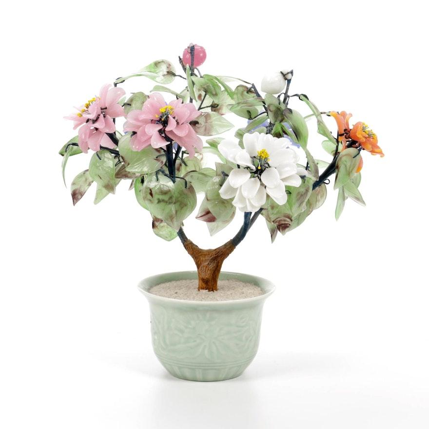 Flowering Tree in Vase Glass and Ceramic Figurine