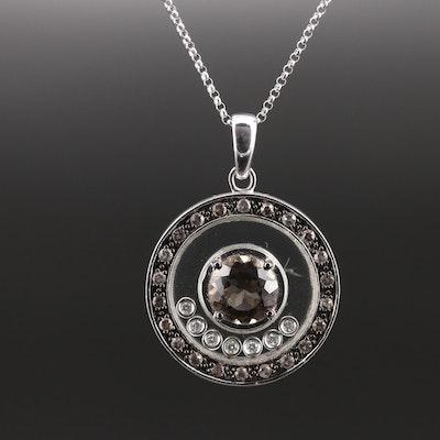 14K Smoky Quartz and Diamond Pendant Necklace