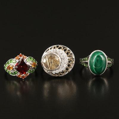 Sterling Silver Rings Featuring Malachite, Garnet and Quartz