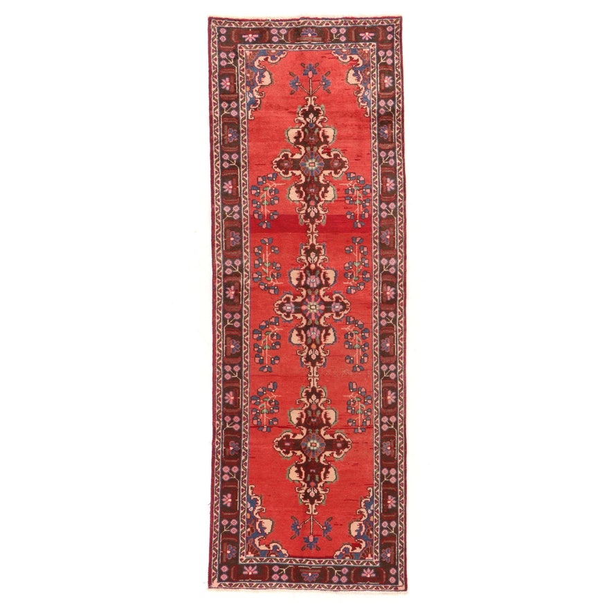 3'5 x 10'2 Hand-Knotted Persian Sarouk Floral Long Rug