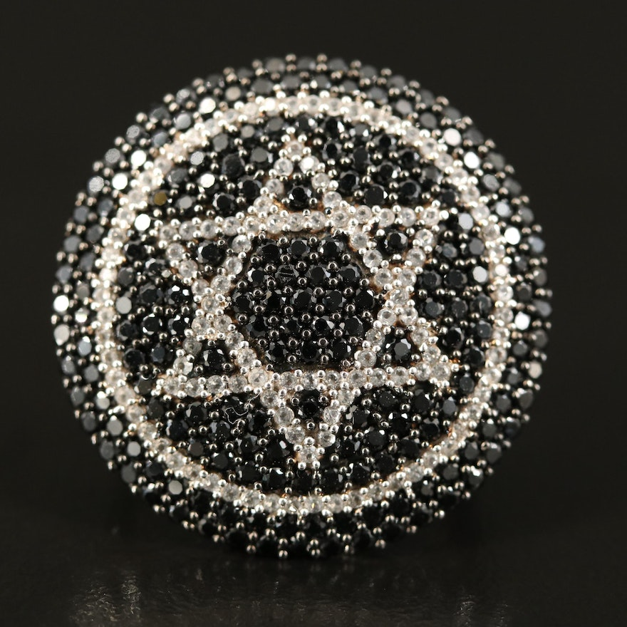 Sterling Spinel and Topaz Star of David Ring