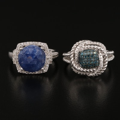 Sterling Silver Sapphire and Diamond Rings