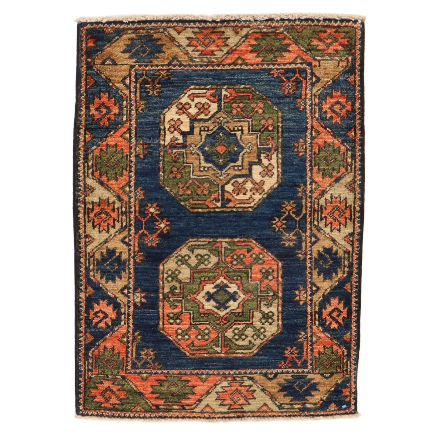 2' x 2'11 Hand-Knotted Afghan Turkmen Rug, 2010s