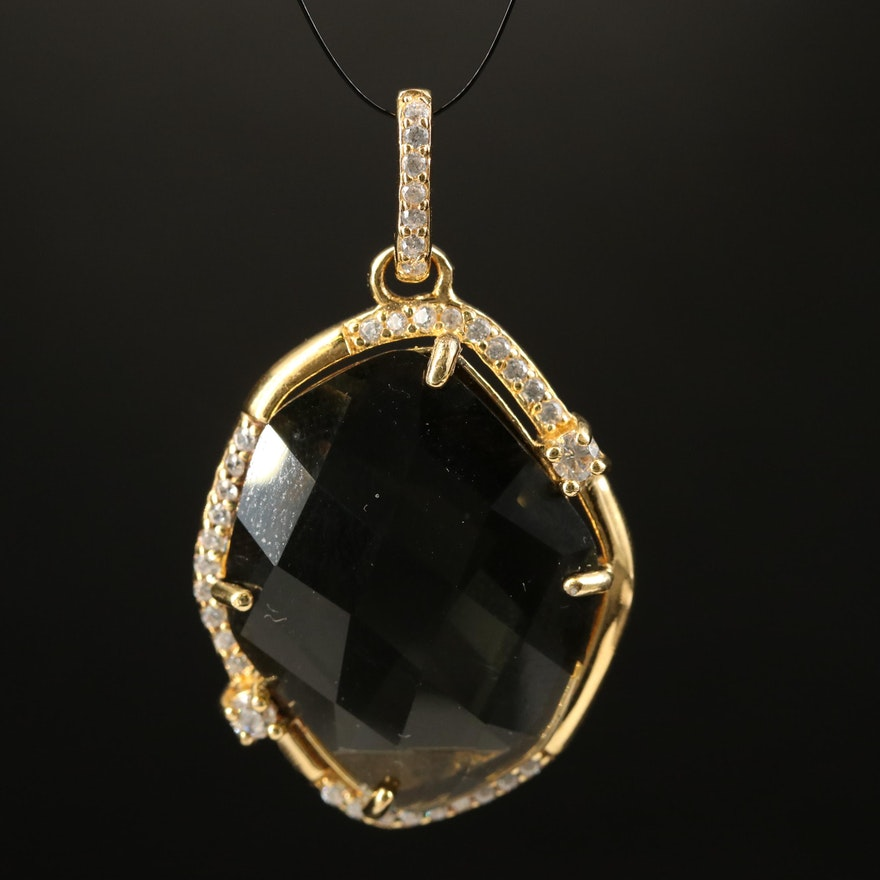 Sterling Silver Glass and Cubic Zirconia Pendant