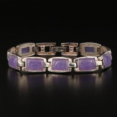 Sterling Silver Jadeite Link Bracelet