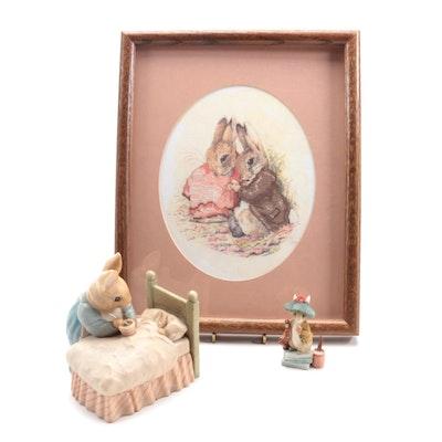 The World of Beatrix Potter L/E Figurine, Themed Bank, Framed Bunny Needlepoint