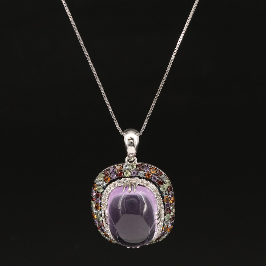 Sterling Silver Amethyst, Garnet and Topaz Pendant Necklace