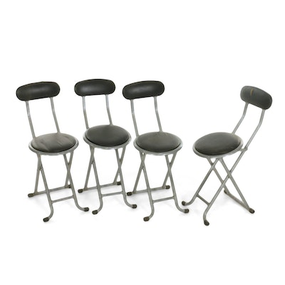 Four Metal and Vinyl Upholstered Folding Chairs, Late 20th Century