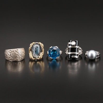 Sterling Pearl and Gemstone Rings Featuring Silpada