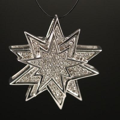 Sterling Silver Diamond Starburst Pendant