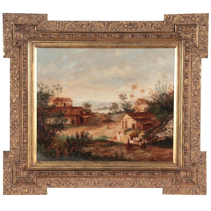 Landscape Oil Painting of Small Village, Late 20th Century