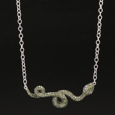 Sterling Silver Pavé Diamond Snake Necklace