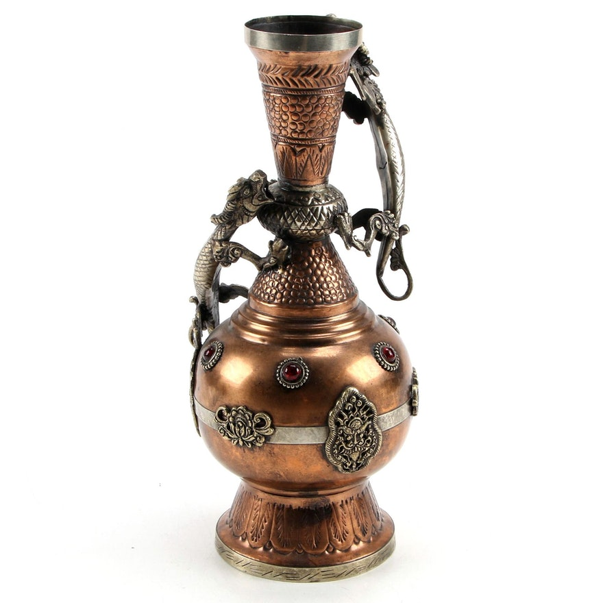 Sino-Tibetan Copper Dragon Handled Vase, Late 20th Century