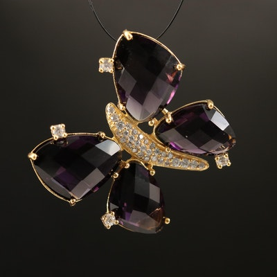 Purple Glass and Cubic Zirconia Butterfly Pendant